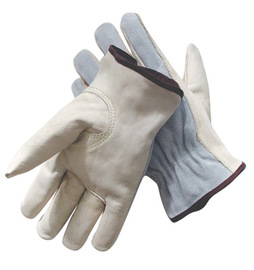 Radnor Large Grain Palm Split Cowhide Back Leather Unlined Drivers Gloves With Keystone Thumb, Slip-On Cuff, Brown Hem And Shirred Elastic Back