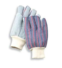 Radnor Ladies Economy Grade Split Leather Palm Gloves With Knit Wrist And Striped Canvas Back