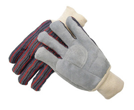 Radnor Large Economy Grade Split Leather Palm Gloves With Knit Wrist, Striped Canvas Back And Circle Patch Reinforcement