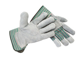 Radnor 2X Select Shoulder Grade Split Leather Palm Gloves With Rubberized Safety Cuff, Striped Canvas Back And Reinforced Knuckle Strap, Pull Tab, Index Finger And Fingertips