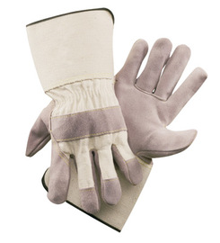 Radnor 2X Side Split Leather Palm Gloves With Gauntlet Cuff, Duck Canvas Back And Reinforced Knuckle Strap, Pull Tab, Index Finger And Fingertips