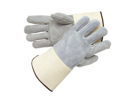 Radnor 2X Side Split Leather Palm Gloves With Gauntlet Cuff, Full Leather Back And Double Leather On Palm, Fingers And Thumb