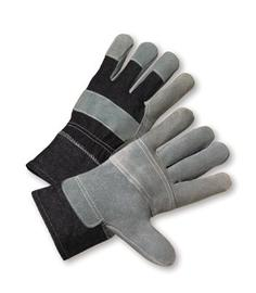 Radnor Large Economy Grade Split Leather Palm Gloves With Safety Cuff, Denim Back And Leather Palm Patch, Reinforced Knuckle Strap, Pull Tab, Index Finger And Fingertips