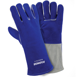 "Radnor Large Blue 14"" Premium Side Split Cowhide Cotton Lined Welders Gloves With Wing Thumb And Kevlar Stitching"