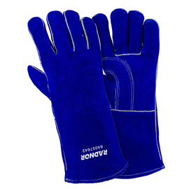 "Radnor Large Blue 14"" Shoulder Split Cowhide Cotton/Foam Lined Insulated Welders Gloves With Reinforced, Wing Thumb"
