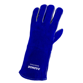 "Radnor Large Blue 14"" Shoulder Split Cowhide Cotton/Foam Lined Insulated Left Hand Welders Glove With Reinforced, Wing Thumb, Welted Fingers And Kevlar Stitching (Carded)"