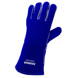 "Radnor Large Blue 14"" Premium Side Split Cowhide Cotton/Foam Lined Insulated Left Hand Welders Glove With Wing Thumb, Welted Fingers And Kevlar Stitching (Carded)"