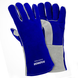 "Radnor Large Blue 14"" Premium Side Split Cowhide Cotton/Foam Lined Insulated Welders Gloves With Double Reinforced, Wing Thumb"
