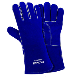 "Radnor Ladies Blue 12"" Shoulder Split Cowhide Cotton/Foam Lined Insulated Welders Gloves With Reinforced, Wing Thumb"