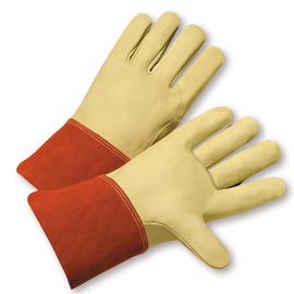 "Radnor Extra Large Standard Grain Cowhide MIG/TIG Welders Glove With 4"" Split Leather Cuff, Kevlar Sewn Reinforced Thumb Strap And Pull"