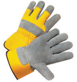 Radnor 2X Premium Select Shoulder Grade Split Leather Palm Gloves With Yellow Rubberized Safety Cuff, Heavy Yellow Canvas Back And Reinforced Knuckle Strap, Pull Tab, Index Finger And Fingertips