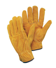 Radnor Large Leather Unlined Drivers Gloves With Keystone Thumb, Slip-On Cuff, Brown Hem And Shirred Elastic Back