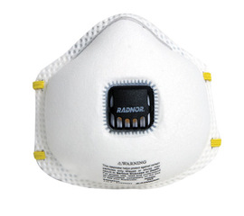 Radnor N95 Flame Resistant Particulate Disposable Respirator With Exhalation Valve And Adjustable Nose Clip - NIOSH 42CFR84 (10 Each Per Box)