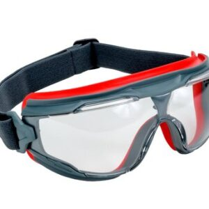 3M™ Solus™ 500 Series Indirect Vent Goggles With Gray And Red Frame, Clear Scotchgard™ Anti-Fog Lens And Adjustable Elastic Strap