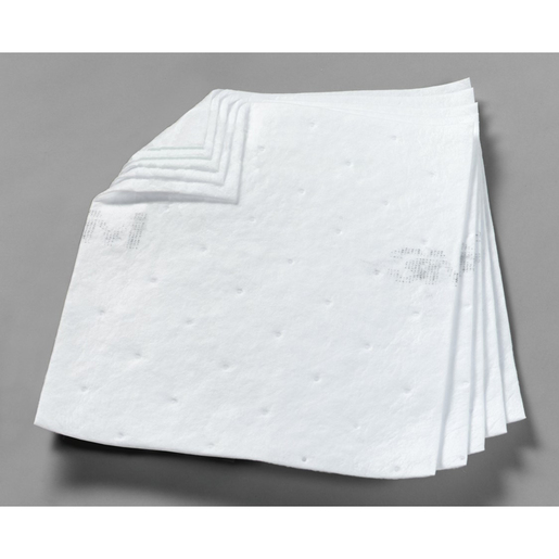 """3M™ 17"""" X 19"""" White Polypropylene And Polyester High Capacity Sorbent Pad 37.5 gal/bale"""