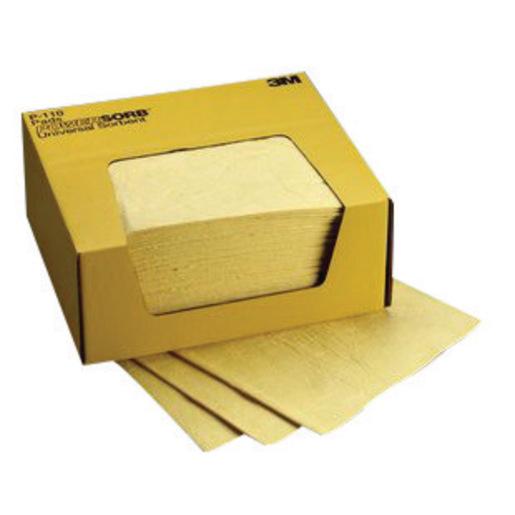 "3M™ 11"" X 13"" Yellow Polypropylene And Polyester Sorbent Pad"