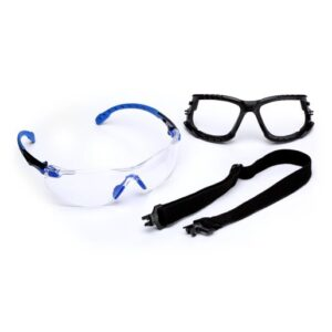 3M™ Solus™ 1000 Series Kit With Blue And Black Polycarbonate Safety Glasses With Clear Scotchgard™ Anti-Fog Lens, Removable Foam Gasket And Elastic Strap