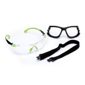 3M™ Solus™ 1000 Series Kit With Green And Black Polycarbonate Safety Glasses With Clear Scotchgard™ Anti-Fog Lens, Removable Foam Gasket And Elastic Strap