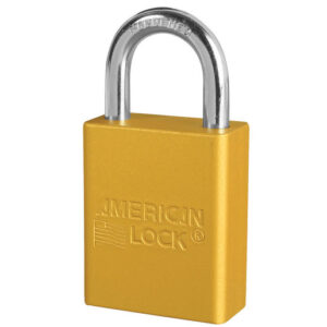 American Lock® Yellow Anodized Aluminum 5 Pin Tumbler Safety Padlock Boron Alloy Shackle