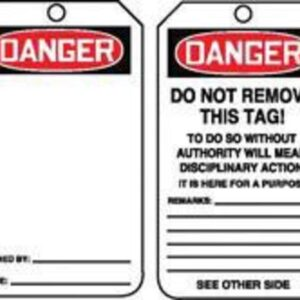 """Accuform Signs® 5 3/4"""" X 3 1/4"""" 10 mils PF-Cardstock Accident Prevention Safety Tag DANGER (BLANK) With Disciplinary Action Warning On Back (25 Per Pack)"""