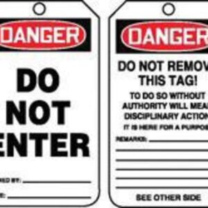 """Accuform Signs® 5 3/4"""" X 3 1/4"""" 15 mils RP-Plastic Safety Accident Prevention Tag DANGER DO NOT ENTER With Do Not Remove Tag Warning On Back (25 Per Pack)"""