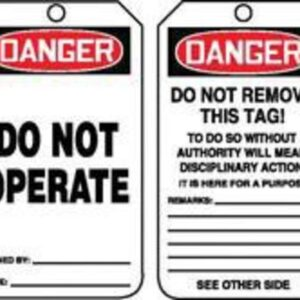 """Accuform Signs® 5 3/4"""" X 3 1/4"""" 10 mils PF-Cardstock Accident Prevention Safety Tag DANGER DO NOT OPERATE With Do Not Remove Tag Warning On Back (25 Per Pack)"""