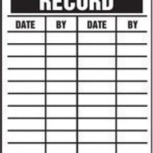 """Accuform Signs® 5 3/4"""" X 3 1/4"""" Black And White 10 mil PF-Cardstock English Equipment Status Tag """"INSPECTION RECORD"""" With 3/8"""" Plain Hole (25 Per Pack)"""