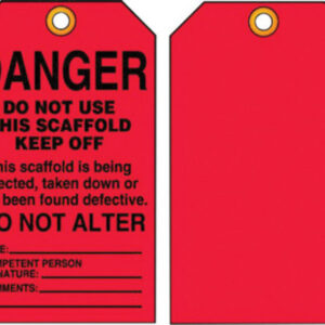 """Accuform Signs® 5 3/4"""" X 3 1/4"""" Black And Red 10 mil PF-Cardstock English Scaffold Status Tag """"DANGER DO NOT USE THIS SCAFFOLD KEEP OFF€¦"""" With 3/8"""" Plain Hole (25 Per Pack)"""