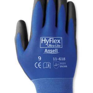 Ansell Size 10 HyFlex® 18 Gauge Ultra Light Weight Multi-Purpose Abrasion Resistant Black Polyurethane Palm Coated Work Gloves With Blue Nylon Liner And Elastic Knit Wrist