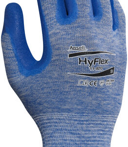 Ansell Size 10 HyFlex® 15 Gauge Medium Duty Cut And Abrasion Resistant Blue Nitrile Palm Coated Work Gloves With Blue Heather Nylon Liner, Knit Wrist And Grip Technology