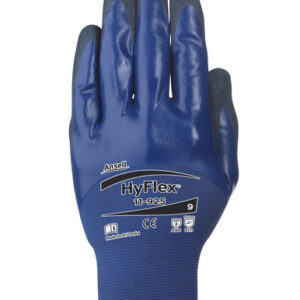Ansell Size 10 HyFlex® 18 Gauge Black Nitrile Palm And Fingertip Coated Work Gloves With Blue Spandex Liner And Knit Wrist