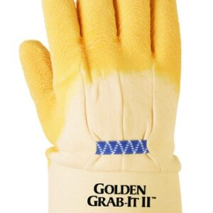 Ansell Size 10 Golden Grab-It® II Heavy Duty Cut Resistant Natural Rubber Latex Palm Coated Work Gloves With Jersey Knit Liner And Safety Cuff