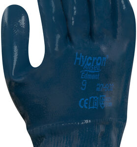 Ansell Size 10 Hycron® Heavy Duty Multi-Purpose Cut And Abrasion Resistant Blue Nitrile Fully Coated Work Gloves With Jersey Liner And Knit Wrist