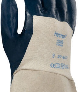 Ansell Size 10 Hycron® Heavy Duty Multi-Purpose Cut And Abrasion Resistant Blue Nitrile Palm Coated Work Gloves With Jersey Liner And Safety Cuff