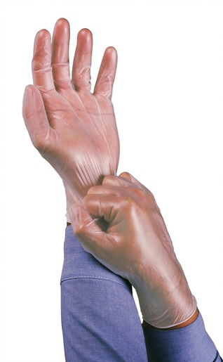 """Ansell Medium Clear 9"""" Dura-Touch® 3 mil PVC Ambidextrous Powder-Free Disposable Gloves With Smooth Finish, Rolled Beaded Cuff And Polymer Coating"""