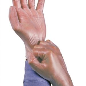 """Ansell Small Clear 9"""" Dura-Touch® 3 mil PVC Ambidextrous Powder-Free Disposable Gloves With Smooth Finish, Rolled Beaded Cuff And Polymer Coating"""