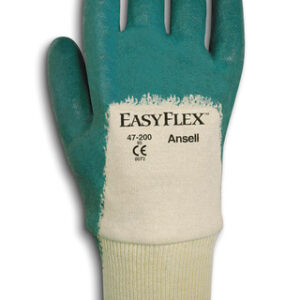 Ansell Size 10 Easy Flex® Light Duty Multi-Purpose Cut And Abrasion Resistant White And Green Nitrile Palm Coated Work Gloves With Cotton Knit Liner And Knit Wrist