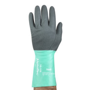 Ansell Size 10 Light Glass Green And Anthracite Gray AlphaTec® Nylon Lined Nitrile Chemical Resistant Gloves
