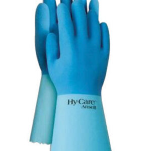 """Ansell Size 10 Blue Hy-Care™ 12"""" Knit Lined 15 mil Natural Rubber Latex Fully Coated Chemical Resistant Gloves With Crinkle Finish And Pinked Cuff (72 Pair Per Case)"""