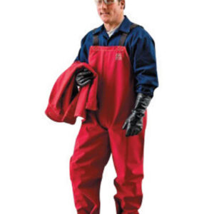 Ansell 2X Red Sawyer-Tower™ CPC Polyester Trilaminate Gore® Fabric Chemical Splash Protection Bib Overalls
