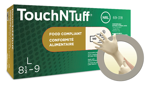 """Ansell Medium White 9"""" Conform® XT 5 mil Natural Latex Ambidextrous Powder-Free Disposable Gloves With Textured Finish And Rolled Beaded Cuff"""