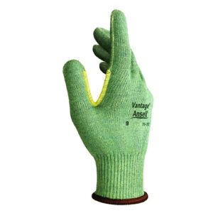 Ansell Size 10 Green Vantage® Medium Weight Cut Resistant Gloves With Knit Wrist, Kevlar® Poly Cotton Lined And Reinforced Thumb Crotch