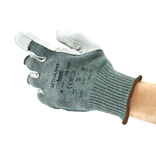 Ansell Size 9 Green Vantage® Medium Weight Cut Resistant Gloves With Knit Wrist, Kevlar® Poly Cotton Lined, Leather Pad Coating, Reinforced Thumb Crotch