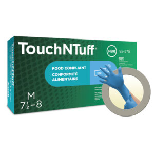 "Ansell Medium Blue 9 1/2"" TNT® Blue 5 mil Nitrile Ambidextrous Lightly Powdered Disposable Gloves With Textured Finger Tip Finish And Rolled Beaded Cuff"
