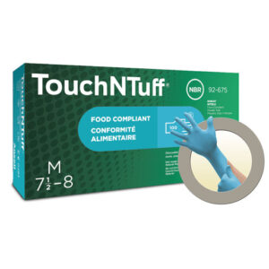 "Ansell Medium Blue 9 1/2"" TNT® Blue 5 mil Nitrile Ambidextrous Powder-Free Disposable Gloves With Textured Finger Tip Finish And Rolled Beaded Cuff"