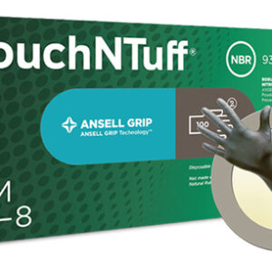 Ansell Size 9 Gray Anthracite TouchNTuff 5.5 mil Silicone Free Nitrile Ambidextrous Non-Sterile Beaded