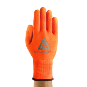 Ansell Size 10 Hi-Viz Orange ActivArmr® Seamless Knit 13 gauge Medium Duty Cut Resistant Gloves With Knit Wrist, Techcor® Polyester Spandex Lining And Straight Thumb