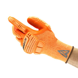 """Ansell Size 10 Hi Viz Orange ActivArmr® 15 Gauge Spandex, Polyester And Nylon Cut Resistant Gloves With Knit Wrist, Kevlar® Liner, 3/4"""" Dipped Neoprene And Nitrile Coating And TPR Impact Bumper"""