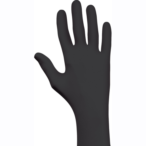 "SHOWA™ Medium Black 9 1/2"" N-DEX® NightHawk® 4 mil Nitrile Ambidextrous Powder-Free Disposable Gloves With Rough Finish And Rolled Cuff (50 Each Per Box)"