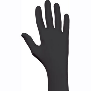 """SHOWA™ Small Black 9 1/2"""" N-DEX® NightHawk® 4 mil Nitrile Ambidextrous Powder-Free Disposable Gloves With Rough Finish And Rolled Cuff (50 Each Per Box)"""